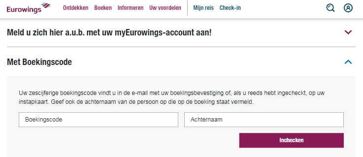 Eurowings inchecken